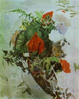 Михаил Александрович Врубель  Red Flowers and Leaves of Begonia in a Basket